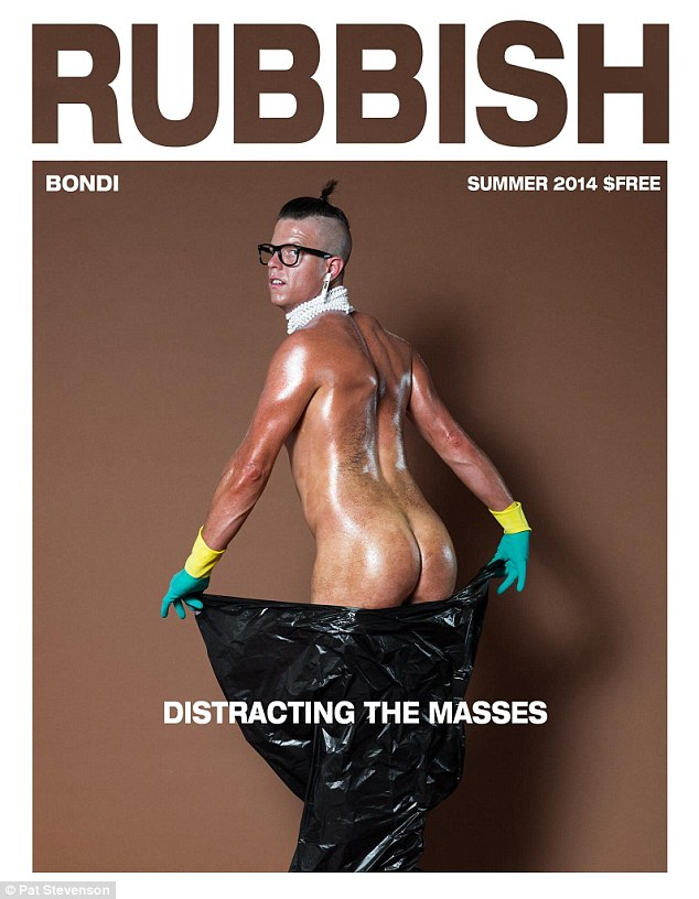 Trash bags: Mocking Kim Kardashian's famous Paper magazine cover, Nick Boshier from Bondi Hipsters posed for an identical photograph wearing a plastic garbage bag