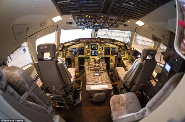 High tech: The cockpit is somewhat less glamorous, with less gold finishes, but plenty of comfortable seating for the pilot and co-pilot