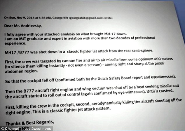 An 'expert' called George Bilt was cited as saying the Boeing was shot out of the sky in 'a classic fighter jet attack from the rear'