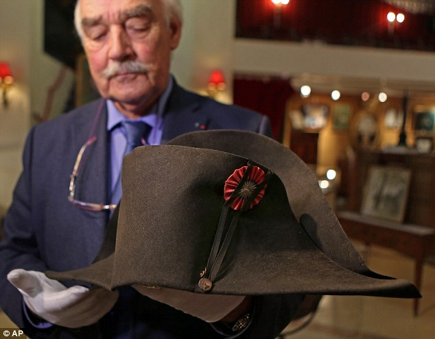 Rare:The last time one of the hats came up for sale in France was in 1968, meaning there was huge interest today. Napoloen changed his hat at least three times a year, and this one was recovered by Joseph Giraud