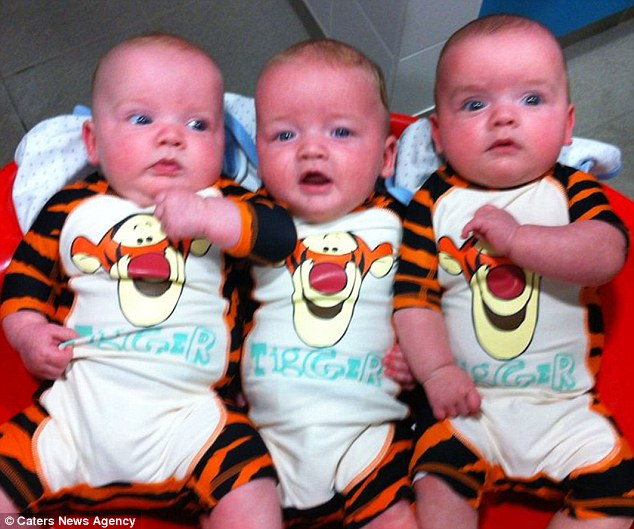 Her sons Jorj, Isaac and Jac. Doctors say she has beaten odds of 25,000 to one to give birth to the non-identical triplets - something that only usually happens with the help of IVF