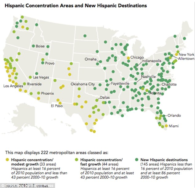 Go east, young man: Hispanics are moving rapidly from the southwest and California eastward and through the South (green dots)