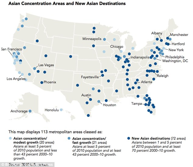 Diverse Midwest: The Midwest, Florida and southeastern US have all also see a large increase in the Asian population