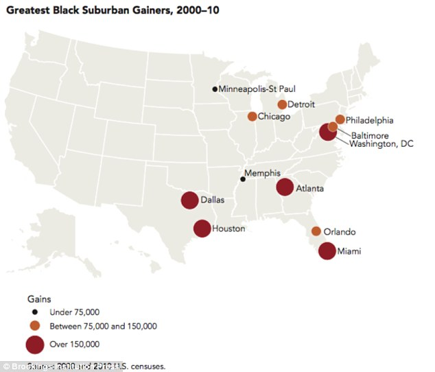 Suburban sprawl: The number of blacks moving to suburbs has skyrocketed. Atlanta, Dallas, Houston, Miami and Washington, DC, are the top cities where black Americans leaving city centers