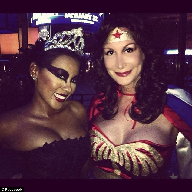 In costume: Chandler dressed as Wonder Woman for Halloween with a pal