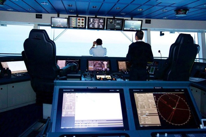 The crew members on board the 16 deck 348m x 41m vessel are on constant watch