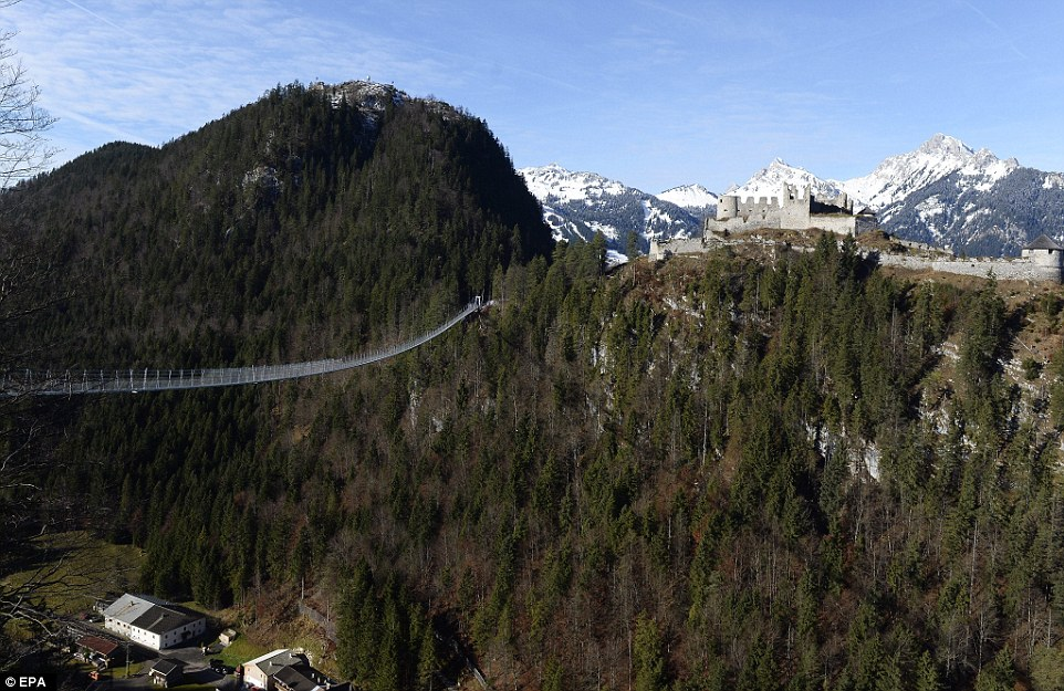 The 1,329 feet-long suspension bridge, Highline179, opens on Saturday in the Tyrol region of Austria
