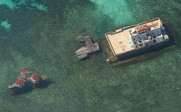 China has used dredgers to construct an island about 3000 metres long and 200 to 300 metres wide on the reef, which was previously under water