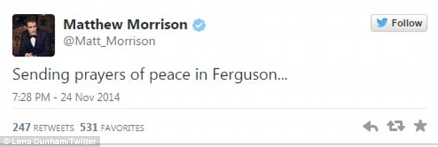 Praying for peace: Glee star Matthew Morrison appeared to be concerned about the outbreak of riots