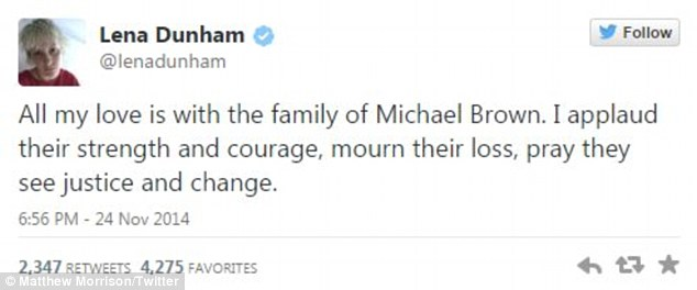 Sharing: Girls creator Lena Dunham paid tribute to the family of Michael Brown