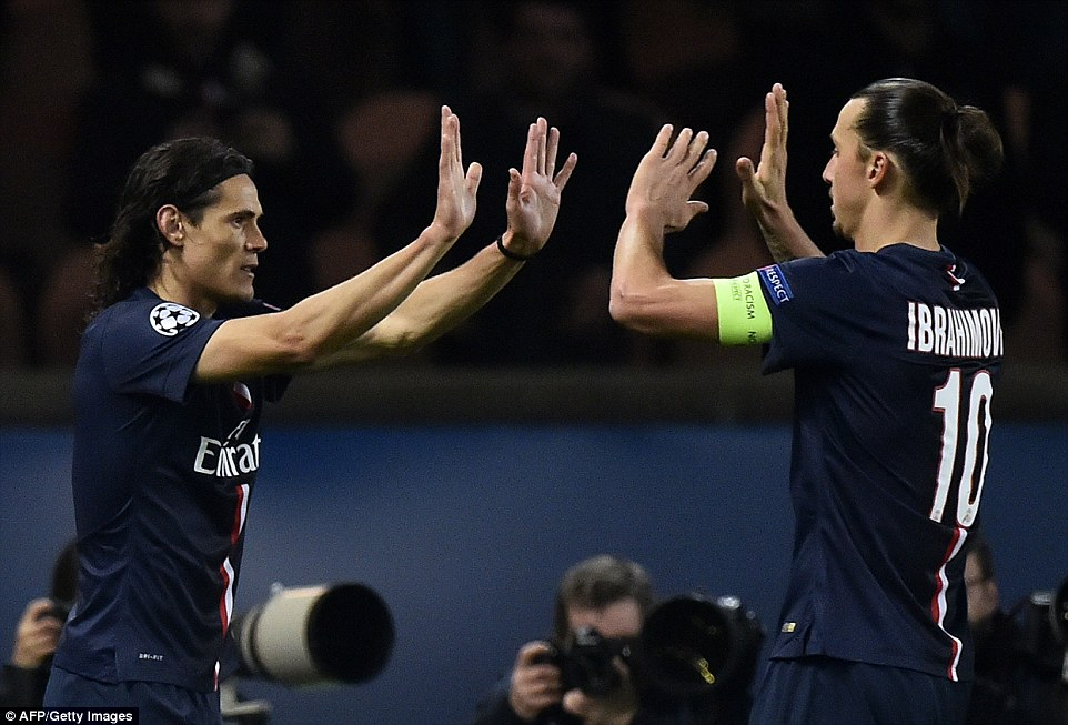 Edinson Cavani and Zlatan Ibrahimovic celebrate the Uruguayan's first of two strikes against Ajax