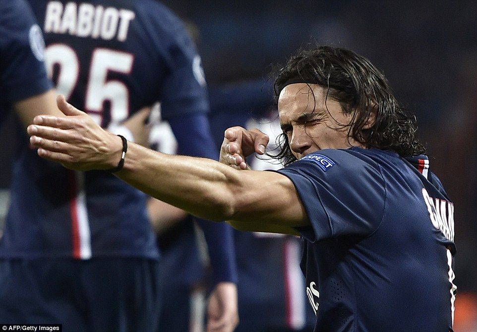 Cavani performs his controversial shooting celebration after scoring for PSG