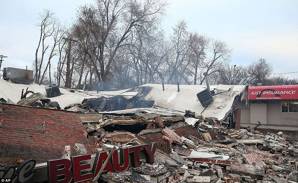Beauty lost: A beauty supply store has been left in ruins after Monday night's riots
