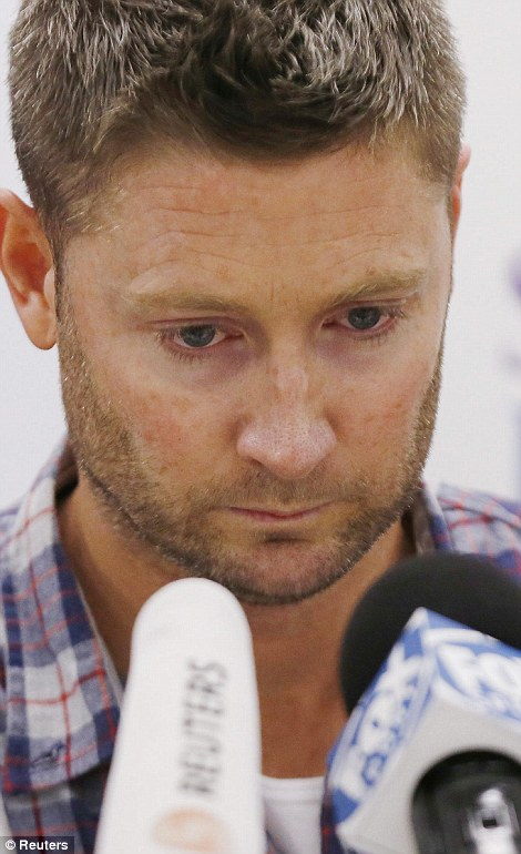 'We love you': An emotional Australian skipper Michael Clarke read out a statement on behalf of Hughes' family