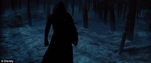 Mysterious: A cloaked figure passes through a forest as the trailer climaxes. While Andy Serkis is believed to be believed to playing an adversary in the forthcoming film, fans have speculated that the figure is Benedict