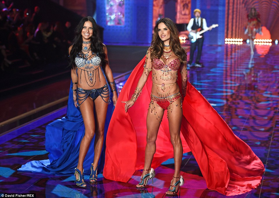 Leaders of the gang: Adriana Lima (left) and Alessandra Ambrosio donned the spectacular Dream Angels Fantasy Bras - each worth $2m - as they strutted down the runway at the Victoria's Secret Show on Tuesday evening at London's Earl's Court
