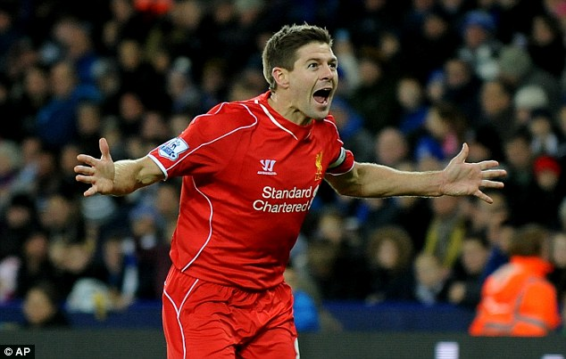 Steven Gerrard celebrates scoring Liverpool's second goal with a trademark finish