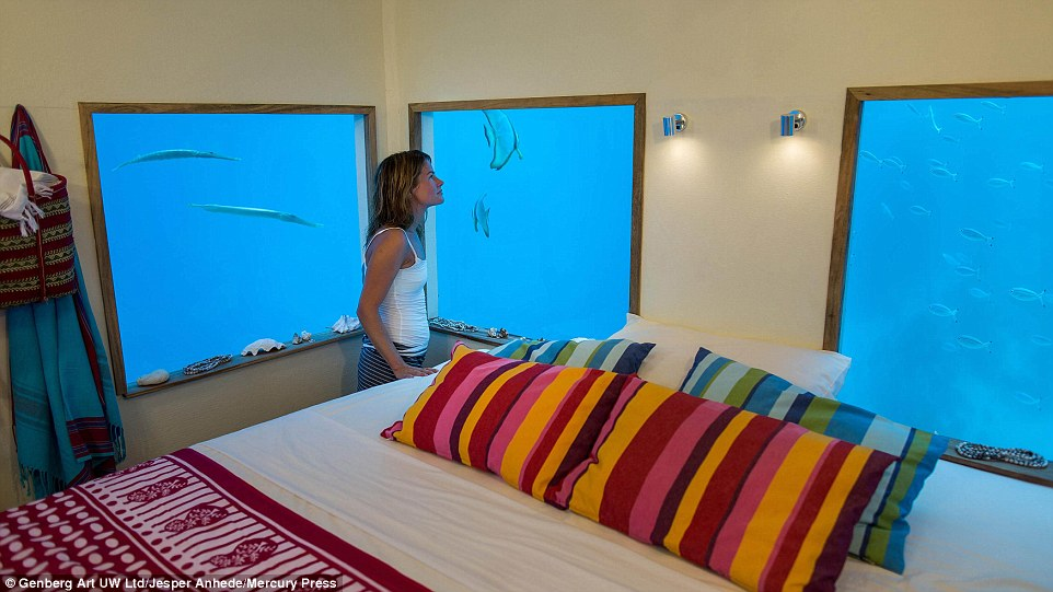 The bedroom windows look directly into the ocean giving the sense of an underwater theatre