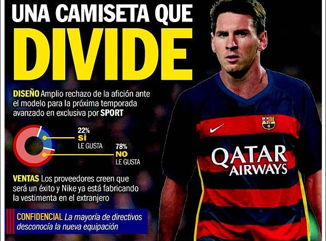 Spanish paper Sport, who broke the story on Tuesday, say 78 per cent of fans do not like the kit