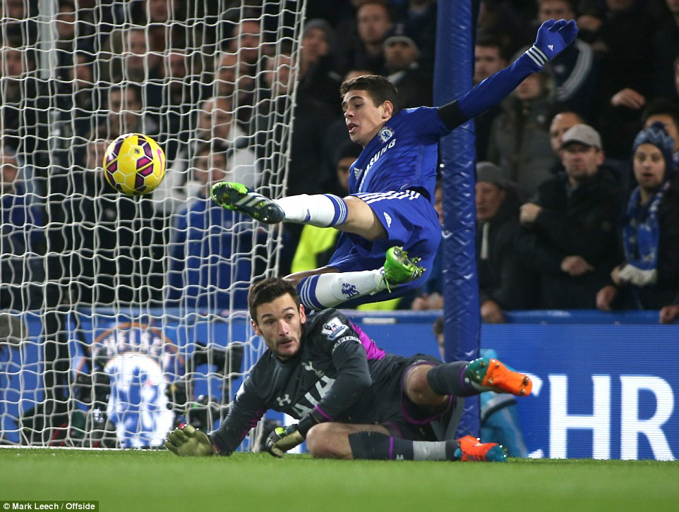 Tottenham keeper Hugo Lloris saves from Chelsea midfielder Oscar, who tries some acrobatics