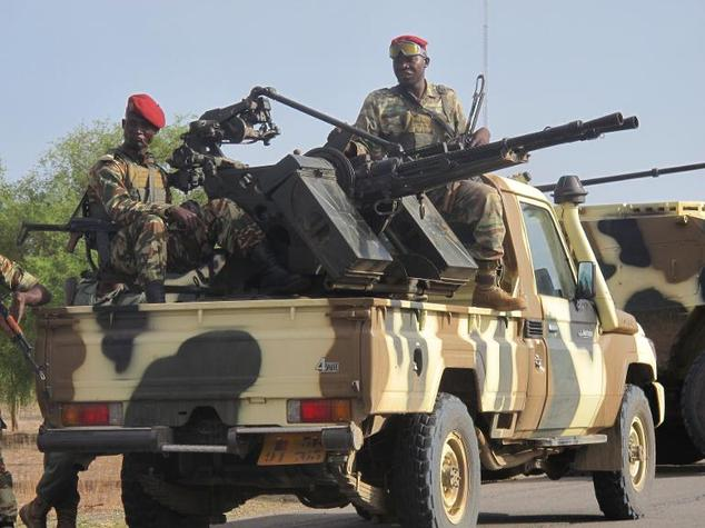 In Dabanga, Cameroon, a convoy of Cameroonian army soldiers arrive as part of a reinforcement of its military forces against Nigerian Islamist group Boko Har...