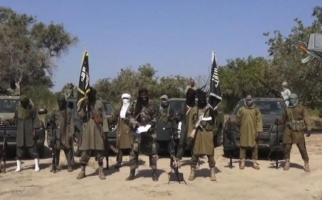 An image grab made on October 31, 2014, from a video obtained by AFP shows the leader of the Islamist extremist group Boko Haram Abubakar Shekau (C) deliveri...