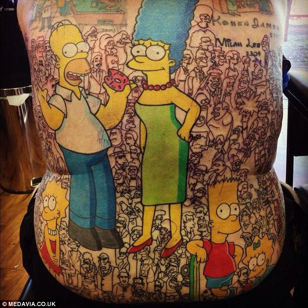 Supporting characters - such as Sideshow Bob, the Comic Book Guy, Ned Flanders, Principal Skinners - are littered among the faces that span across Mr Baxter's back