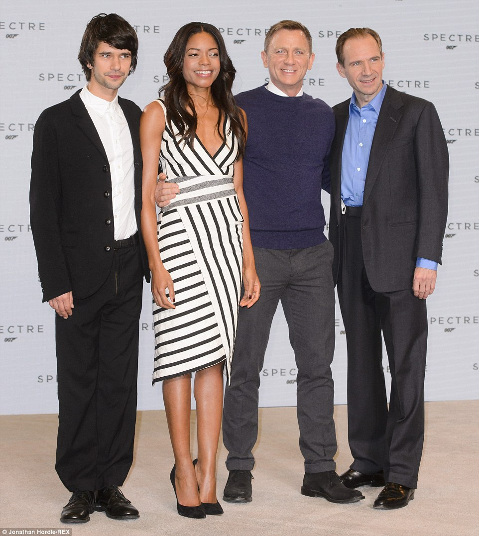 Returning cast: Daniel is joined by a star-studded returning cast that includes Ben Whishaw (Q), Naomie Harris (Miss Moneypenny) andRalph Fiennes (M)