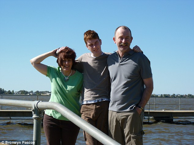 James (centre) with his mother Bronwyn (left) and father Allan (right) say their son has deteriorated as a result of ignorance about his condition and a lack of support from the Victorian Department of Human Services