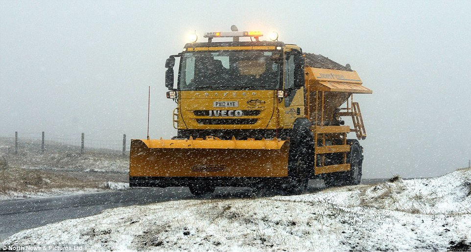 Out in force: Gritters were out on many of the region's roads today, including in Cumbria (above) as the Met Office warned of snow and ice
