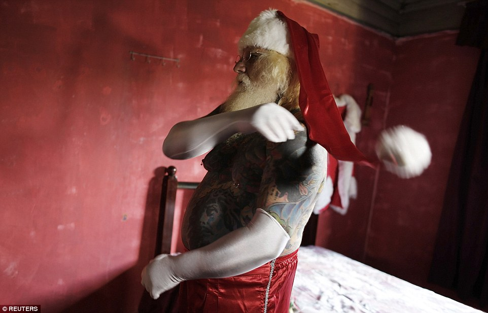 The Brazilian shopping centre Santa who is covered in