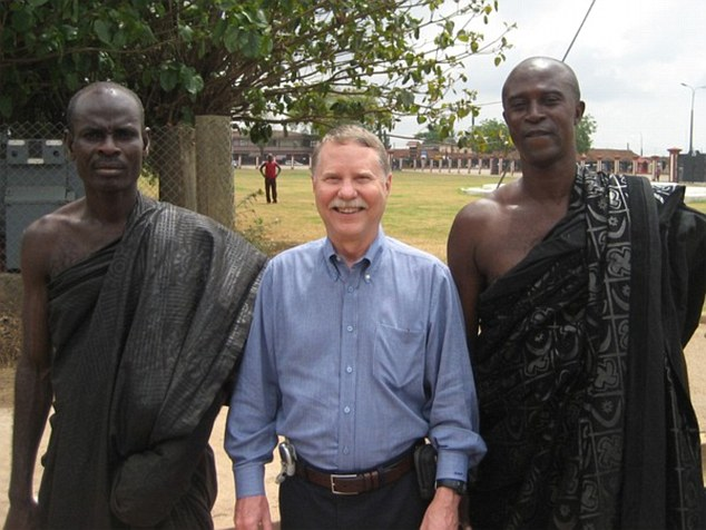 Don stands at the Court of the Ashanti King in Kumasi, Ghana in 2007. He travels about six months a year, often alone but sometimes with one or two others to share the costs