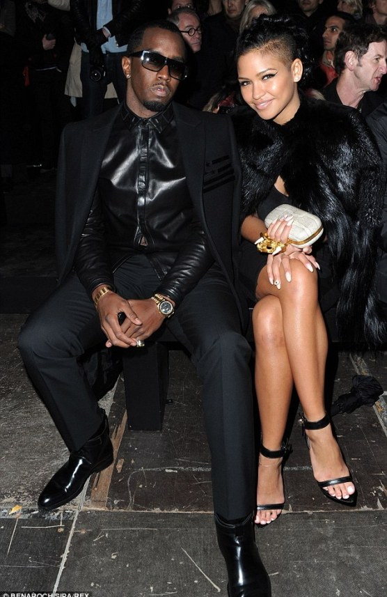 Protective: Some sources alleged the fight began when Drake made comments about Diddy's girlfriend, Cassie, pictured here with the mogul