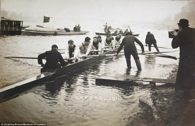 Mrs Broom's work included significant events such as the Oxford rowing team, seen taking part in the University boat race in Putney in 1911
