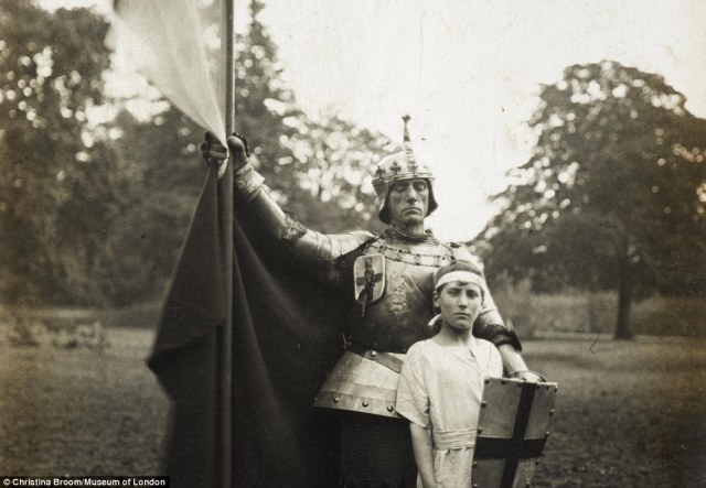 Mrs Broom's collection features a variety of photos, including those of an army pageant featuring St George and a young Knight in 1910