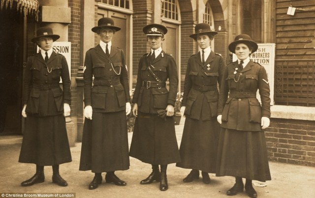 Female police officers and Inspector Mary Mary Allen (centre), a former suffragette, were seen at the Women's War Work Exhibition in 1915