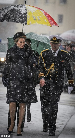 The royal was accompanied by her husband, King Philippe