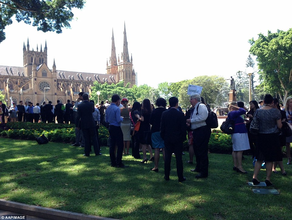 People evacuated from offices in Martin Place have been told to congregate in Hyde Park