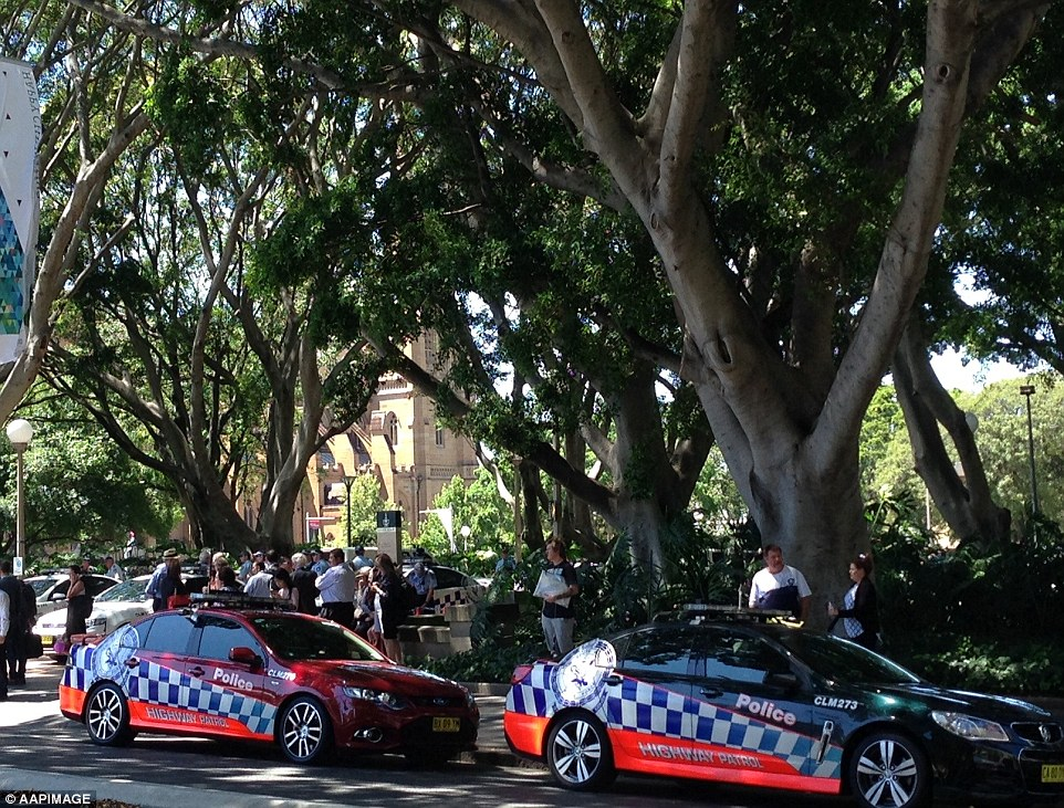 Police are guarding the area in Hyde Park where people are congregating after evacuating
