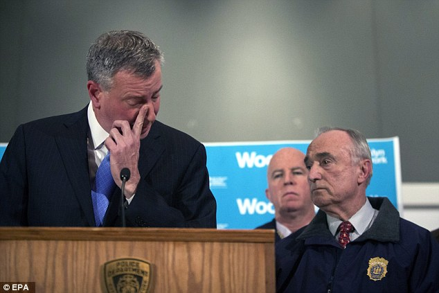 Speaking out: 'Every New Yorker should feel they were attacked, that our entire city was attacked, by this heinous individual,' said de Blasio