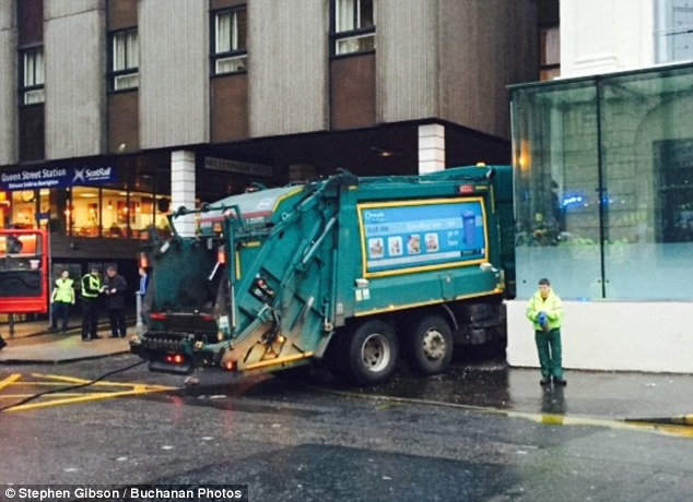 The lorry crashed into a wall next to the entrance to Queen Street Station next to the Millennium Hotel