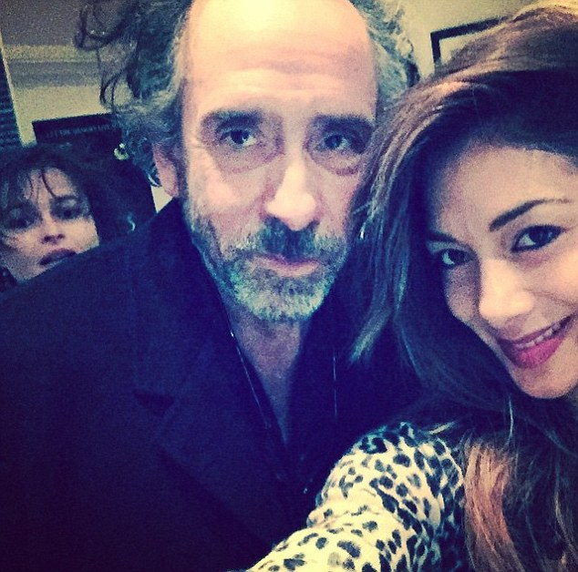 Good company: Meanwhile, the Hawaiian-born beauty recently uploaded a snap of her and director Tim Burton and actress Helena Bonham Carter after they came to watch her in action