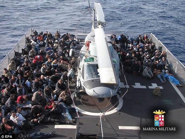 Five of the desperate refugees died as they attempted the deadly crossing from Africa to Europe