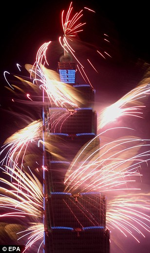 Fireworks go off at the Taipei 101 skyscraper to celebrate New Year 2015 in Taipei, Taiwan