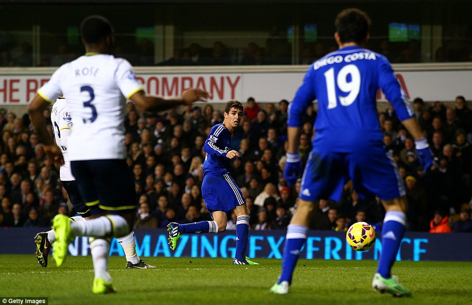 Oscar slid a clever ball back to the Spain international to tap home in front of a stunned White Hart Lane