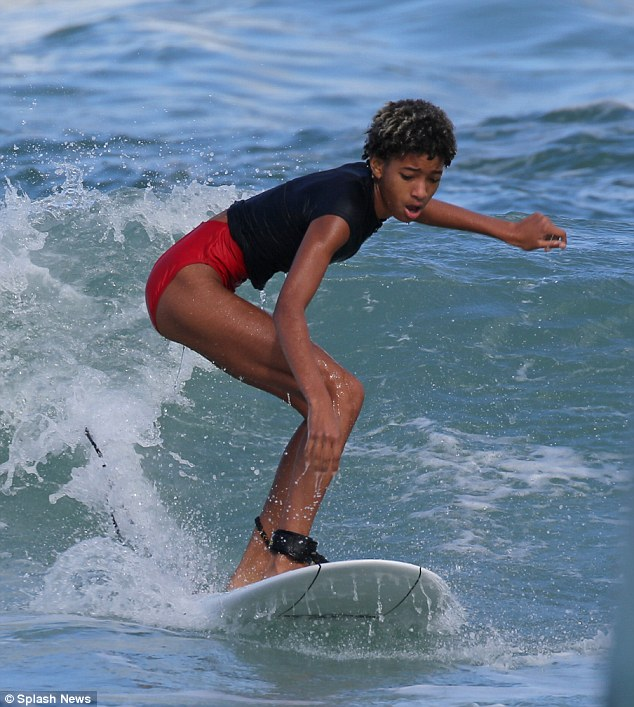 Making waves: The singer and actress looked to be in command as she skilfully rode the waves