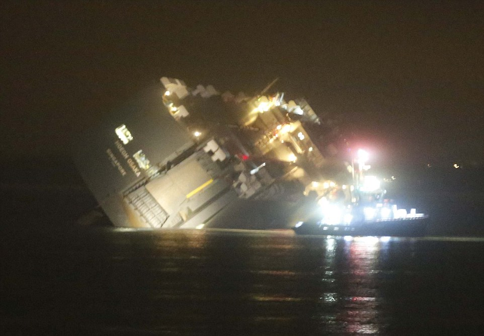 The last of the 25 crew members were rescued from the water and the boat's deck about 2am this morning