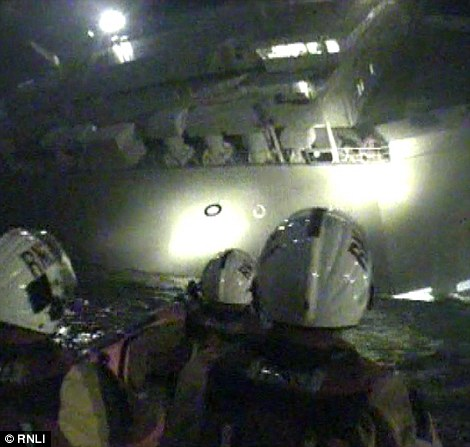 Members of the RNLI aboard a rescue lifeboat helped rescue all 25 crew members