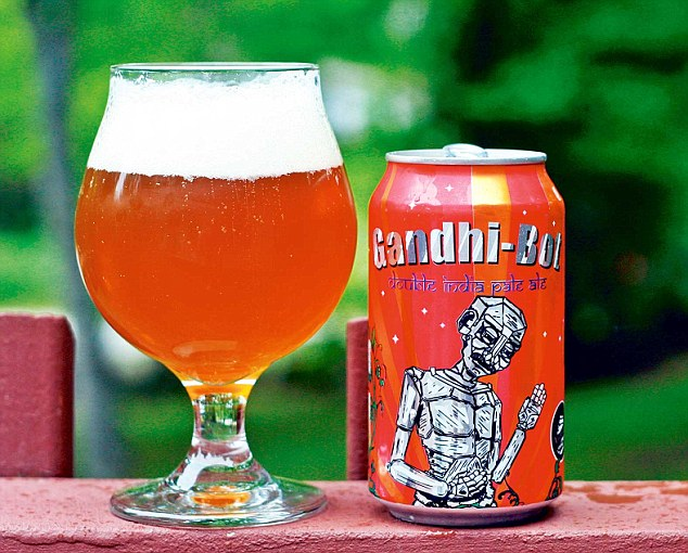 Underfire: The New England Brewing Co. in Connecticut was slammed for its Gandhi-Bot pale ale by consumers, who claimed the beverage was an an 'illegal insult' to India