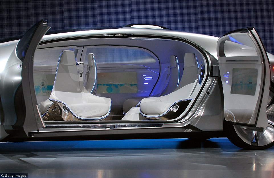 Mercedes' car, meanwhile, has space for four and uses 'swivel chairs' that rotate 30 degrees (shown) so that the passengers can talk to each other easily. A driver can also take manual control of the car, or just let it drive them autonomously
